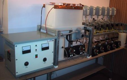 Laboratory (bench) scale electrowinning pilot plant with solvent extraction pilot plant.