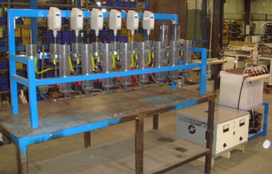 Bench scale solvent extraction pilot plant.